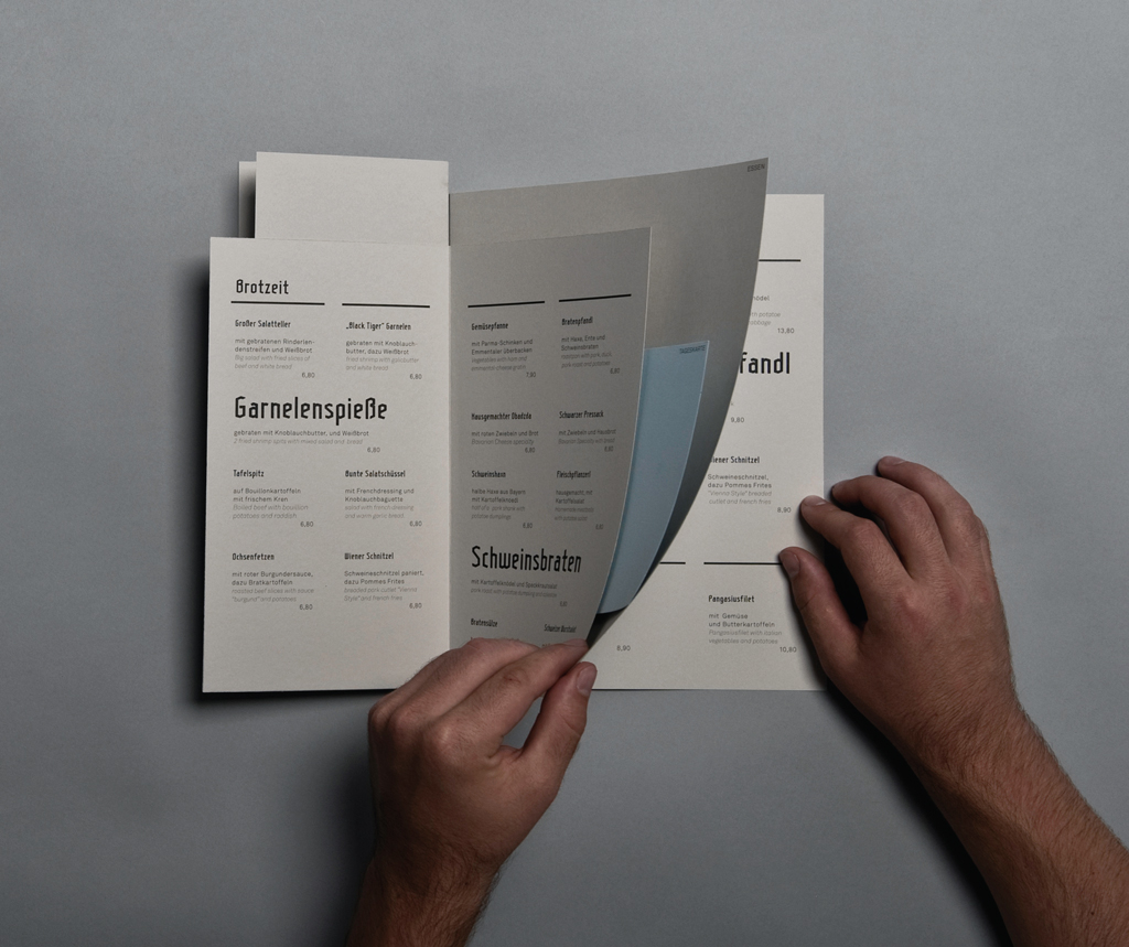 Food and Drinks Menu for the Hirschgarten Rebranding Project