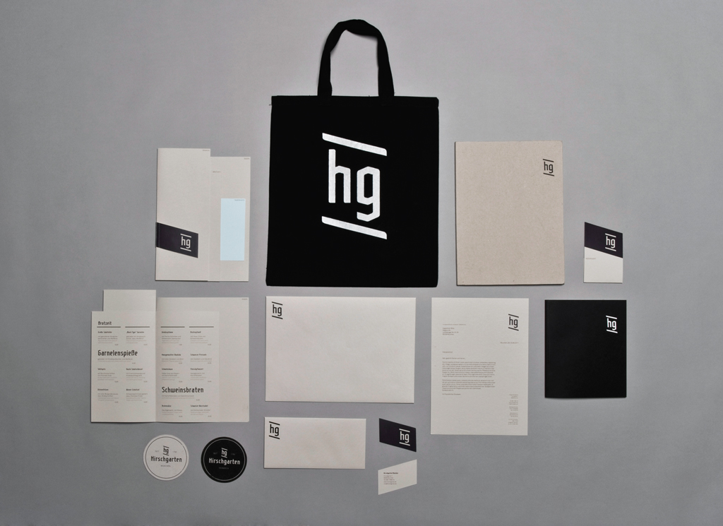 Overview of the printed matter for the Hirschgarten Rebranding Project